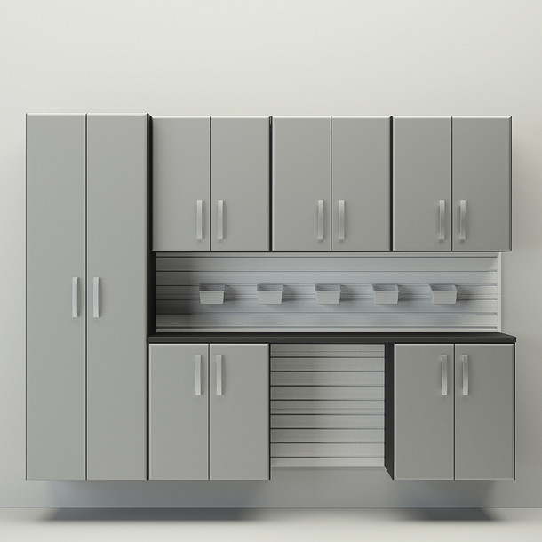 7pc Cabinet Storage Set - White/Silver