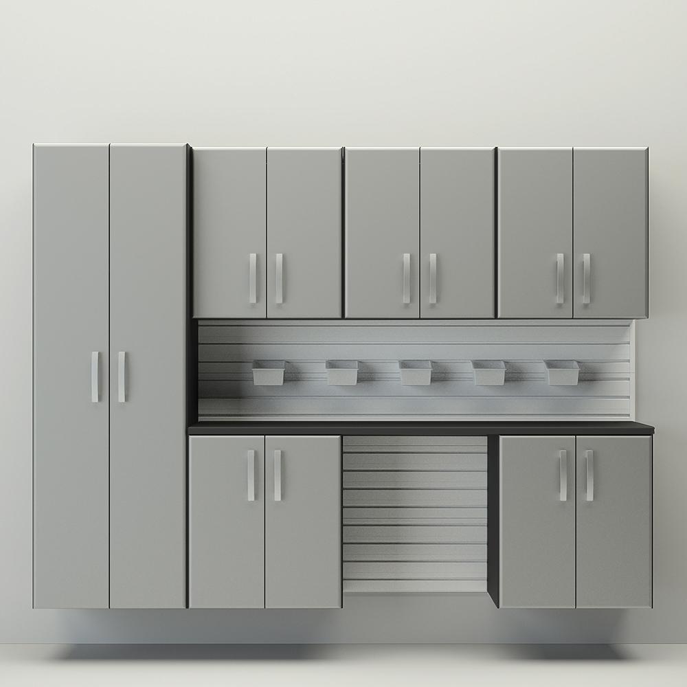 7pc Cabinet Storage Set   White/Silver