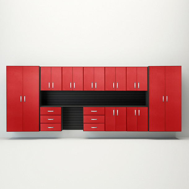 13pc Jumbo Cabinet Workstation - Black/Red Carbon