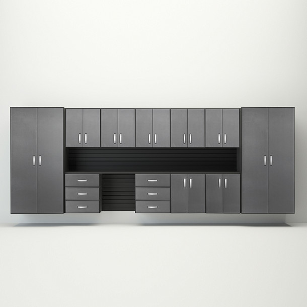 Flow Wall® 15pc Jumbo Cabinet Workstation - Black/Graphite Carbon