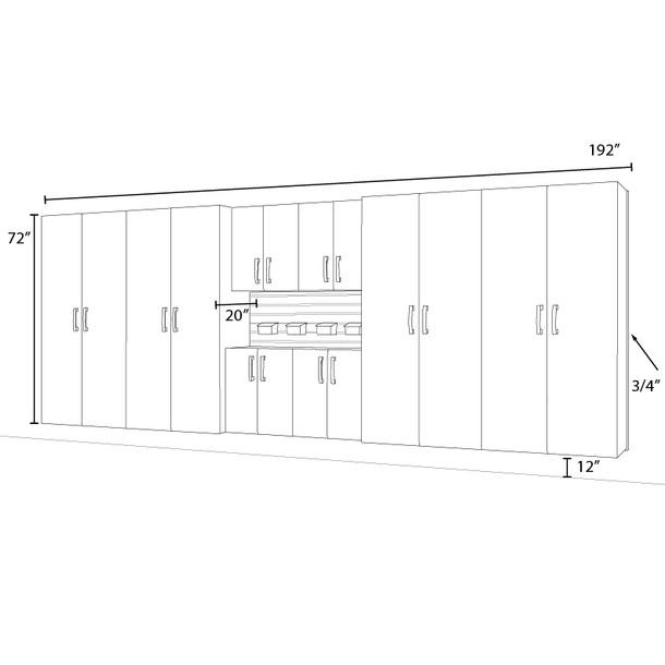 8pc Jumbo Cabinet Set - Silver/White