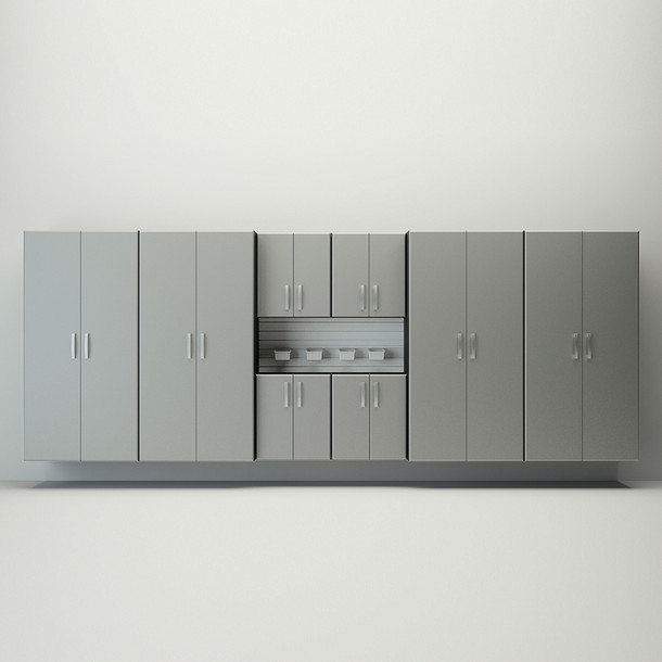 8pc Jumbo Cabinet Set - White/Silver