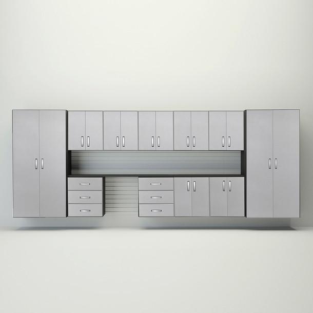 Flow Wall® 11pc Jumbo Cabinet Workstation - White/Platinum Carbon