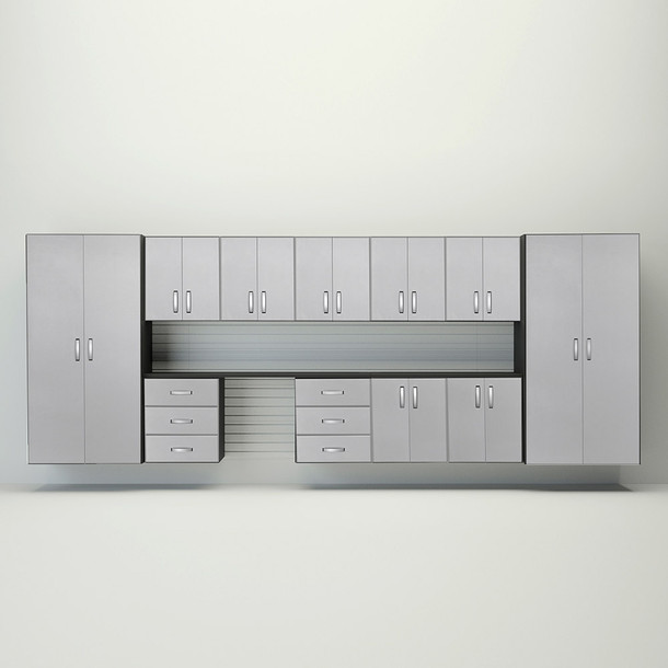 13pc Jumbo Cabinet Workstation - White/Platinum Carbon