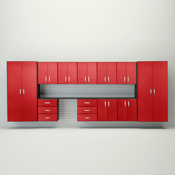Flow Wall® 11pc Jumbo Cabinet Workstation - White/Red Carbon