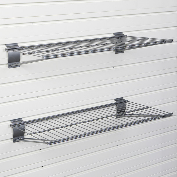 Metal Bracket Shelf 2pk - Silver