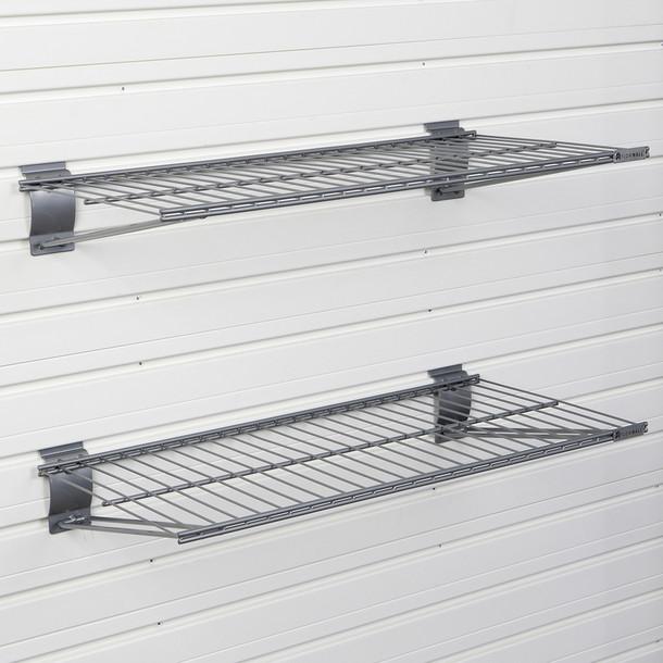 Metal Bracket Shelf 2pk - Silver