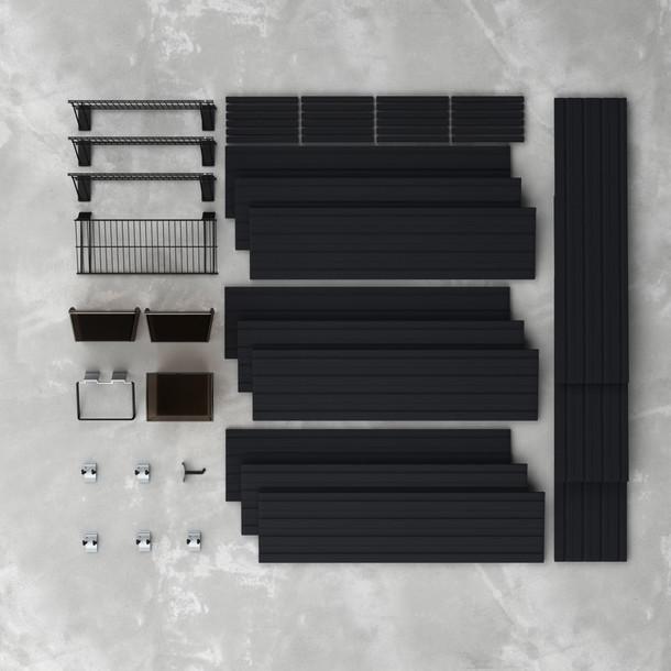16 Pc Garage Wall Storage Shelf Set - Black