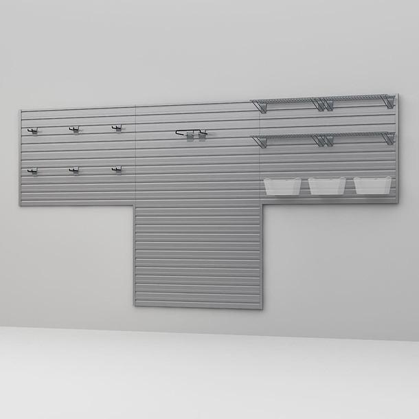 16 Pc Garage Wall Storage Shelf Set - Silver