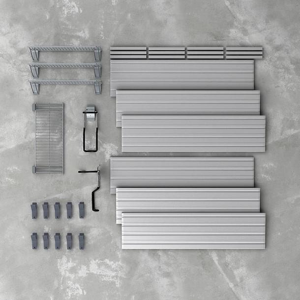 16 Pc Bike and Shelf Basic Storage Set - Silver